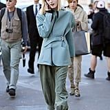 Model Hanne Gaby worked slouchy separates and a bold jacket between shows.