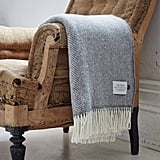 Bottle Green Homes Cashmere and Merino Herringbone Throw