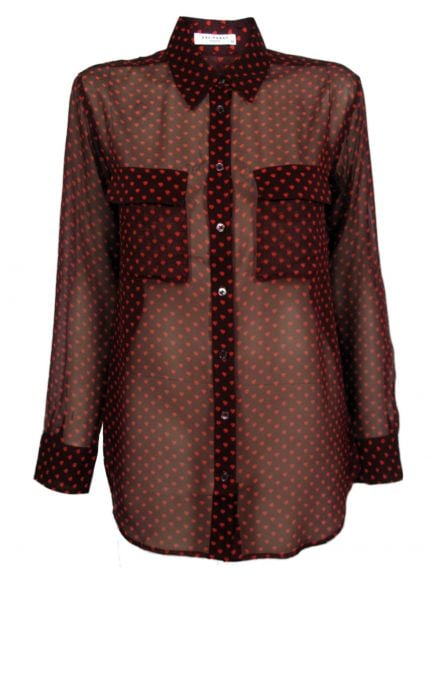 Upgrade your weekday blouse routine with a sheer blouse in a decadent-feeling Fall hue — just be sure to wear something underneath this see-through topper at your 9-to-5. Equipment Signature Sheer Angelica Hearts Blouse ($218)