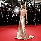The gorgeous back detail on her liquid gold Calvin Klein creation in 2011.