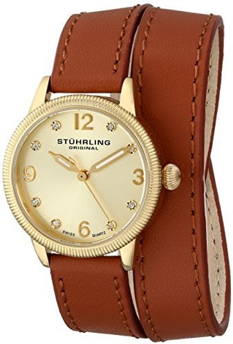 Stuhrling Original Swiss Quartz Double Wrap Gold Watch
