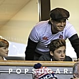 David Beckham and his sons Romeo and Brooklyn watched a rugby match in London on Saturday.