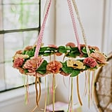 A close-up look at the floral chandelier.
