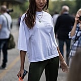 Joan Smalls Kept Things Casual in a White Tee and Leggings During MFW