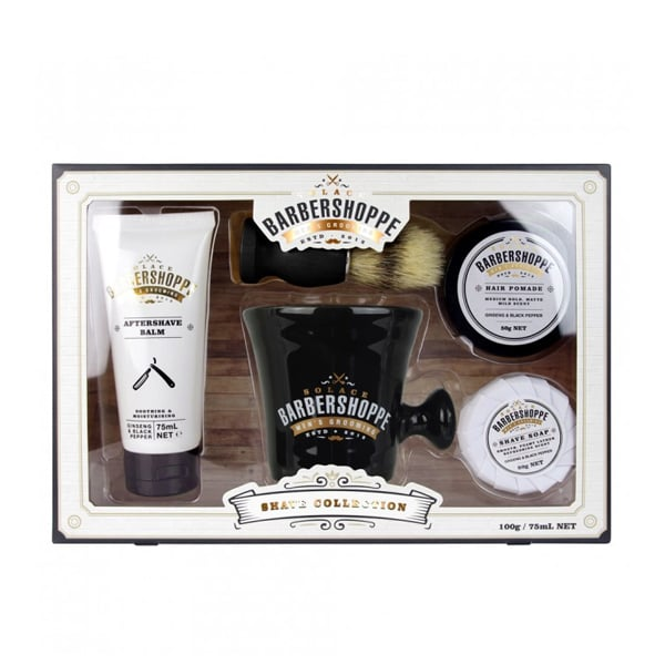 Barber Shoppe Shave Collection Kit ($20) The Barber Shoppe Shave Collection contains all the essentials to maintain his facial hair including shave soap, shave mug, shave brush, aftershave balm and beard and hair wax.
