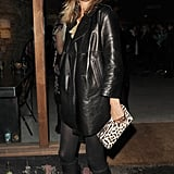 Kate carried a leopard-print clutch with her all-black look at a party for The Kills.
