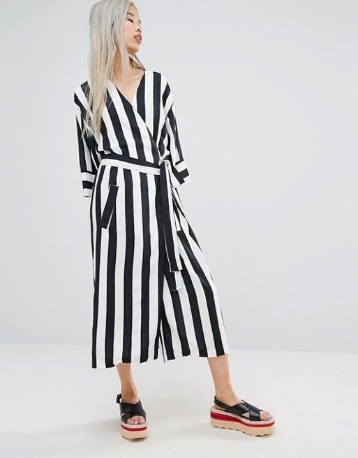 STYLENANDA Wrap Front Kimono Dress In Stripe ($98)