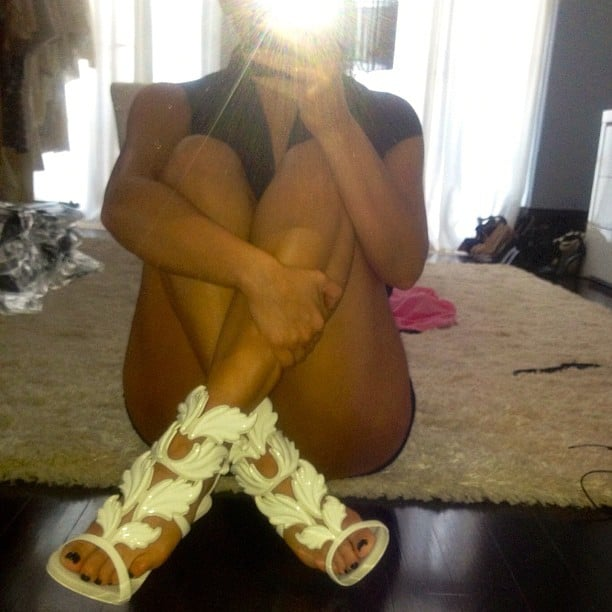 Kim Kardashian proudly displayed her new Kanye West/Giuseppe Zanotti sandals. Source: Instagram user kimkardashian