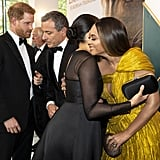 Pictured: Prince Harry, Meghan Markle, and Beyoncé at The Lion King premiere in London.