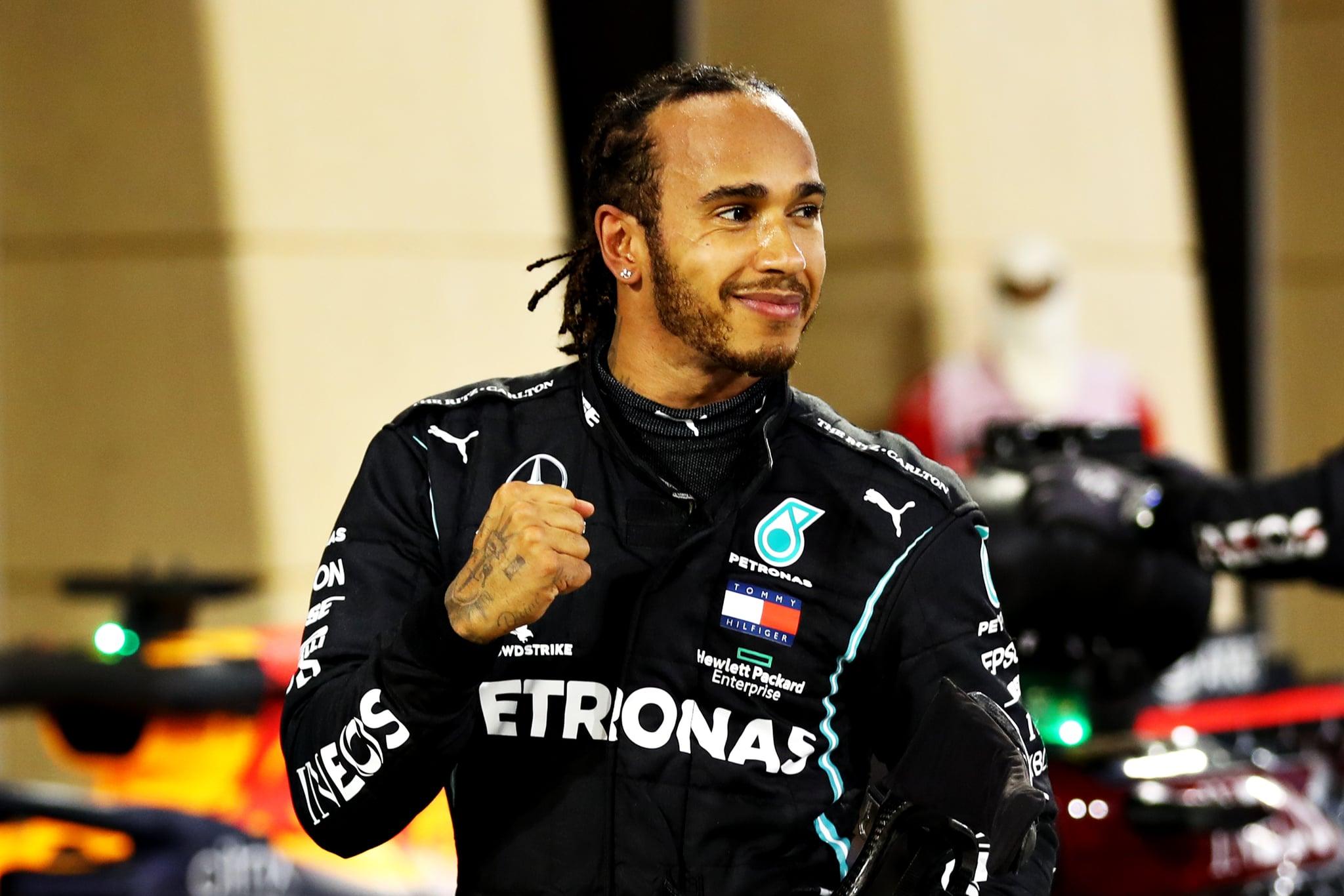 BAHRAIN, BAHRAIN - NOVEMBER 29: Race winner Lewis Hamilton of Great Britain and Mercedes GP celebrates in parc ferme during the F1 Grand Prix of Bahrain at Bahrain International Circuit on November 29, 2020 in Bahrain, Bahrain. (Photo by Mark Thompson/Getty Images)