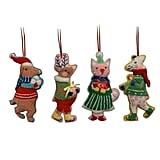 Merry Lane Boucle Plush Giraffe/Cat/Dog/Reindeer Christmas Ornament Set