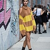 Sara Sampaio Was Spotted Wearing an Oversize Striped Sweater