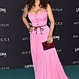 Salma Hayek's pink Gucci dress was unmissable at the 2015 Los Angeles County Museum of Art gala.