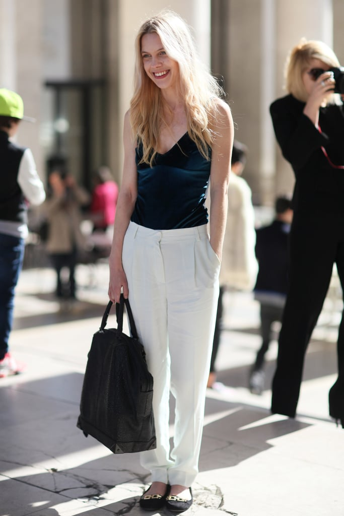 Slouchy white pants gave this cami a relaxed, borrowed-from-the-boys vibe.