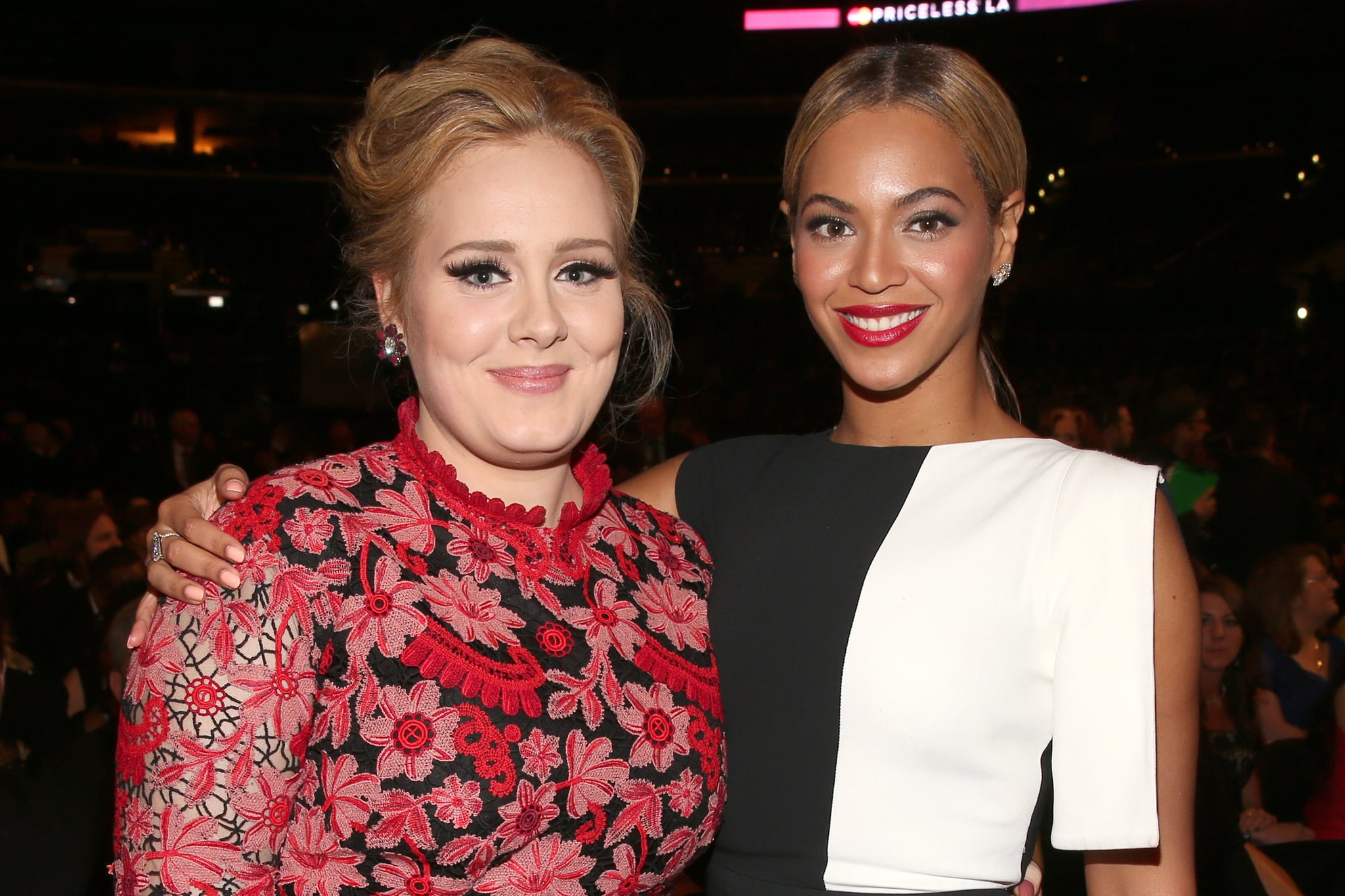 LOS ANGELES, CA - FEBRUARY 10:  Singers Adele (L) and Beyonce attend the 55th Annual GRAMMY Awards at STAPLES Centre on February 10, 2013 in Los Angeles, California.  (Photo by Christopher Polk/Getty Images for NARAS)