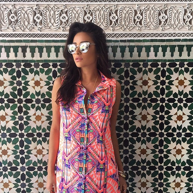 Posing — and mixing prints — in Morocco.
