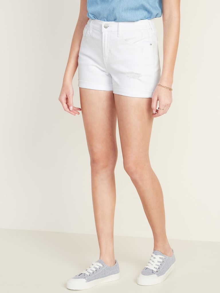 Old Navy Mid-Rise Distressed Boyfriend White Jean Shorts