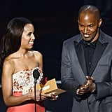 Kerry Washington laughed with Jamie Foxx.