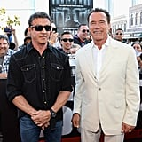 Sylvester Stallone and Arnold Schwarzenegger posed together at the premiere of Escape Plan as part of Comic-Con in San Diego.