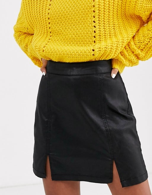 ASOS Design Petite Denim Coated Mini Skirt