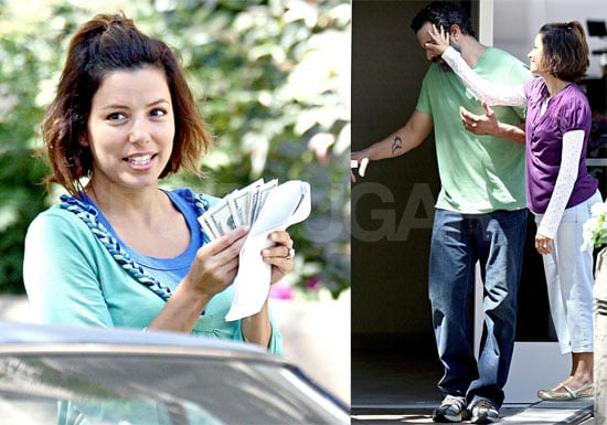 Photos of Eva Longoria, Ricardo Chavira, and Shawn Pyfrom Filming Desperate Housewives