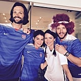 """In July 2015, the couple got cute with Jensen's Supernatural BFF, Jared Padalecki, and his wife, Genevieve Cortese. Jared tweeted this picture, writing, """"World Cup time w/ @realGpad @JensenAckles and @DanneelHarris !!! #WomensWorldCup holy moly @CarliLloyd !!"""""""