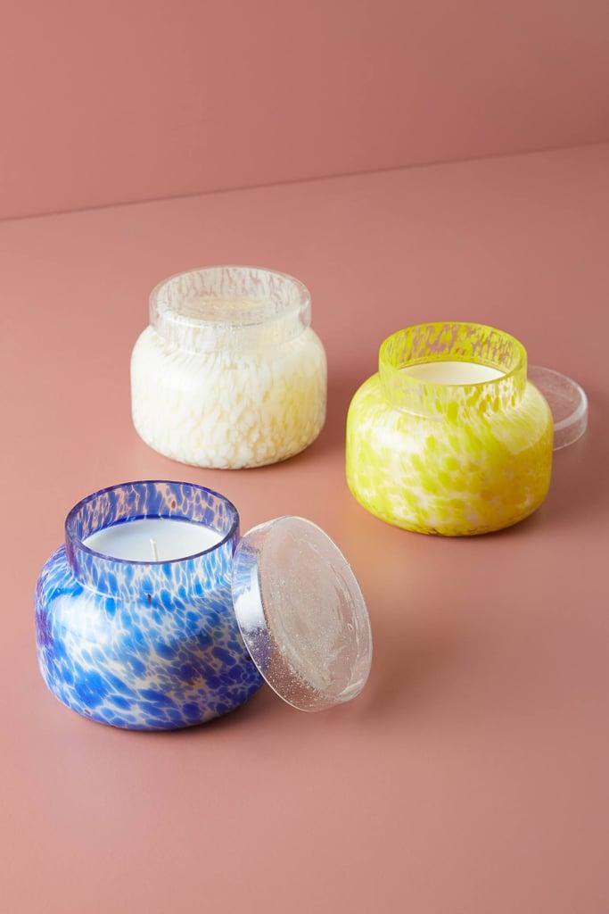 Get the Look: Capri Blue Confetti Glass Candle