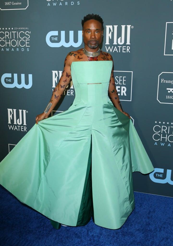 Billy Porter's Seafoam Green Dress at the 2020 Critics' Choice Awards