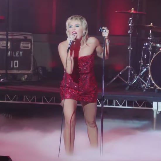 "Miley Cyrus Wearing Red Dress to Perform ""Man Eater"""