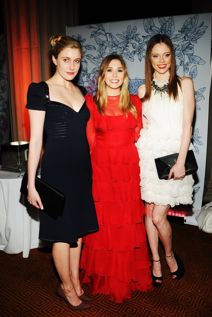Elizabeth Olsen was flanked by Greta Gerwig and model Coco Rocha at the Grand Chefs Dinner in NYC.