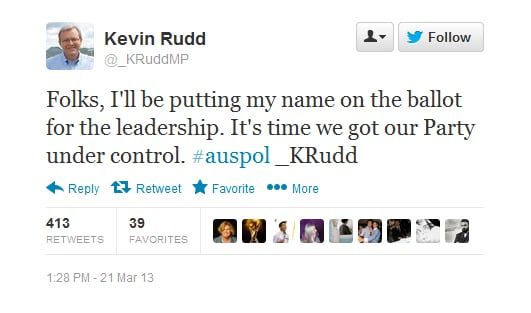 Funny Celebrity Tweets on ALP Leadership Spill 2013