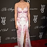Gigi attended the 2014 Angel Ball in this pink strapless dress that conjures images of a butterfly.