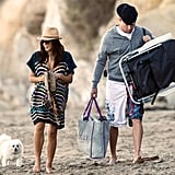 Channing Tatum and Jenna Dewan walked along the beach.