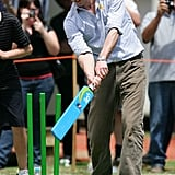 In January 2010, the prince played a game of cricket when he visited Melbourne, Australia.