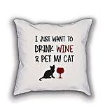 Cute Dose  Wino Cat Pillow