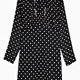 Topshop Black and White Shirred-Neck Spot Mini Dress