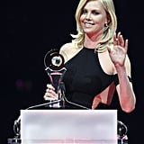 Charlize Theron accepted the distinguished decade of achievement in film award at the CinemaCon awards ceremony in Las Vegas.