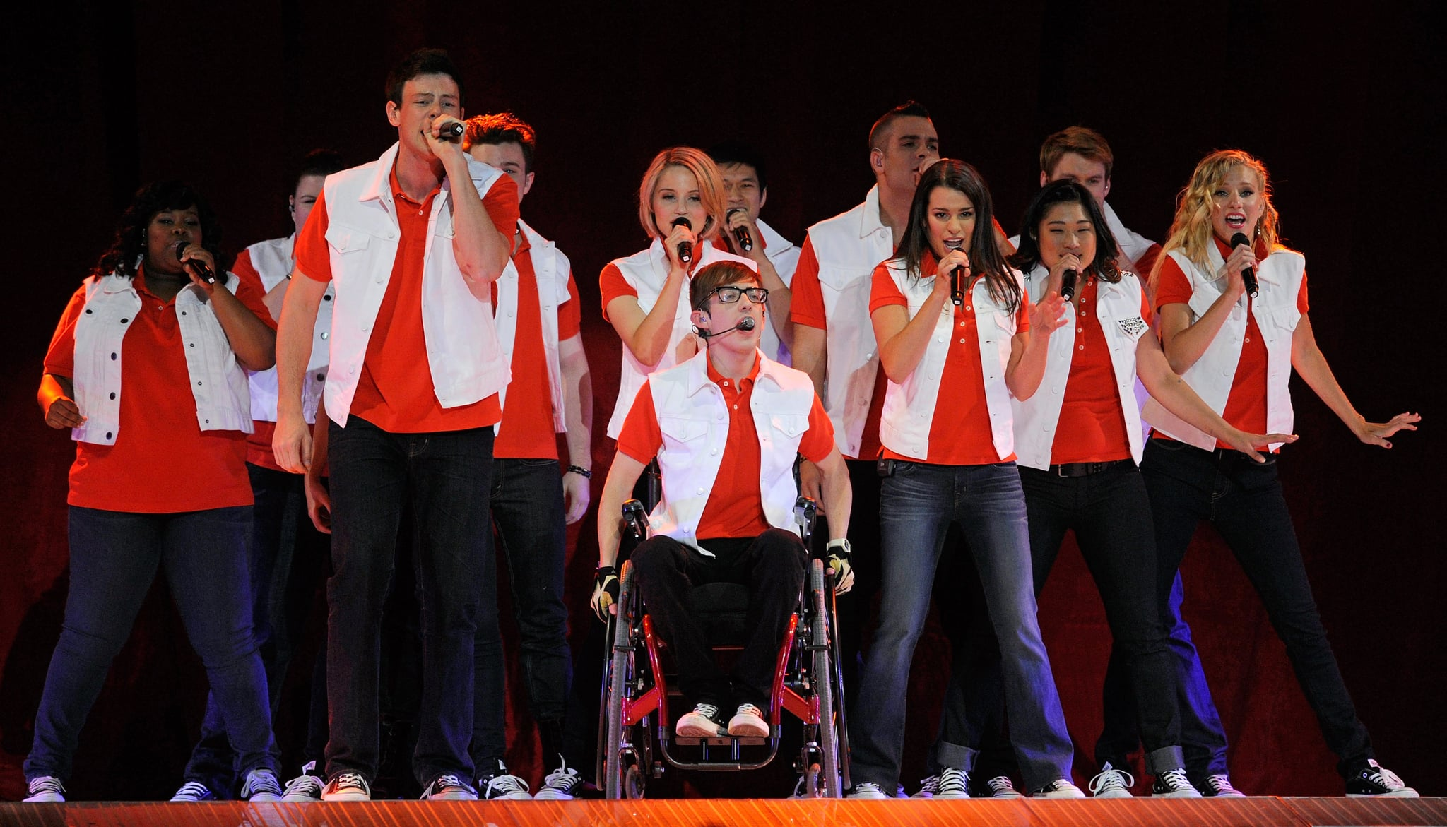 LAS VEGAS, NV - MAY 21:  Cast members including, front (L-R) Amber Riley, Cory Monteith, Kevin McHale, Lea Michele, Jenna Ushkowitz and Heather Morris perform during the kickoff of the Glee Live! In Concert! tour at the Mandalay Bay Events Center May 21, 2011 in Las Vegas, Nevada.  (Photo by Ethan Miller/Getty Images)
