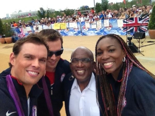 The Bryan brothers posed with Venus Williams and Al Roker.  Source: Twitter user Bryanbros