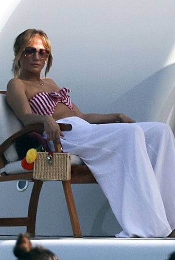 J Lo Wears a Red-and-White Bikini Top With Ben Affleck