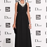 Giovanna Battaglia hit the Dior red carpet in an ankle-length jewel-detailed design.