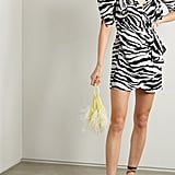 Attico Zebra-Print Chiffon Wrap Mini Dress