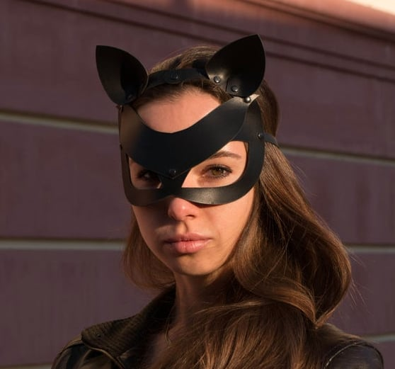 Shop the Look: Black Leather Cat Woman Mask