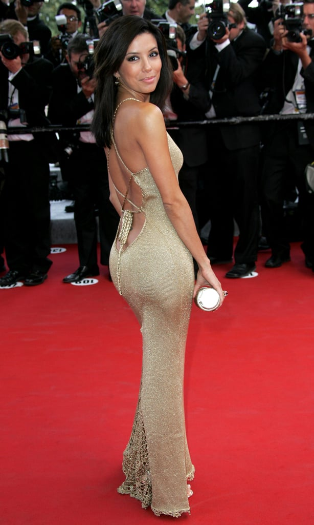 For her first Cannes event in 2005, Eva Longoria showed off her curves in a metallic gold Sofia Perrey dress that laced up in the back.