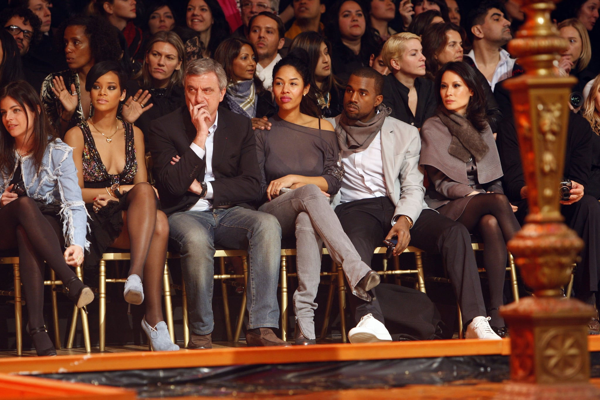 Kanye West, Lucy Liu, and Rihanna were all together for Paris Fashion Week in 2009.