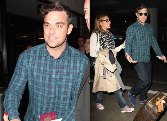 Photos Of Robbie Williams At LAX With Girlfriend Ayda Field