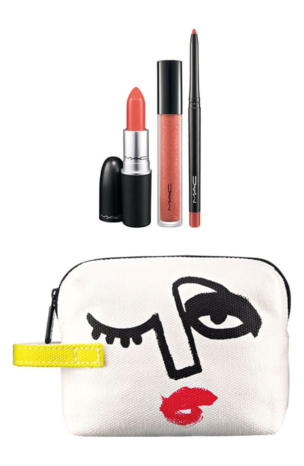 Triple Feature Lip Bag in Peach