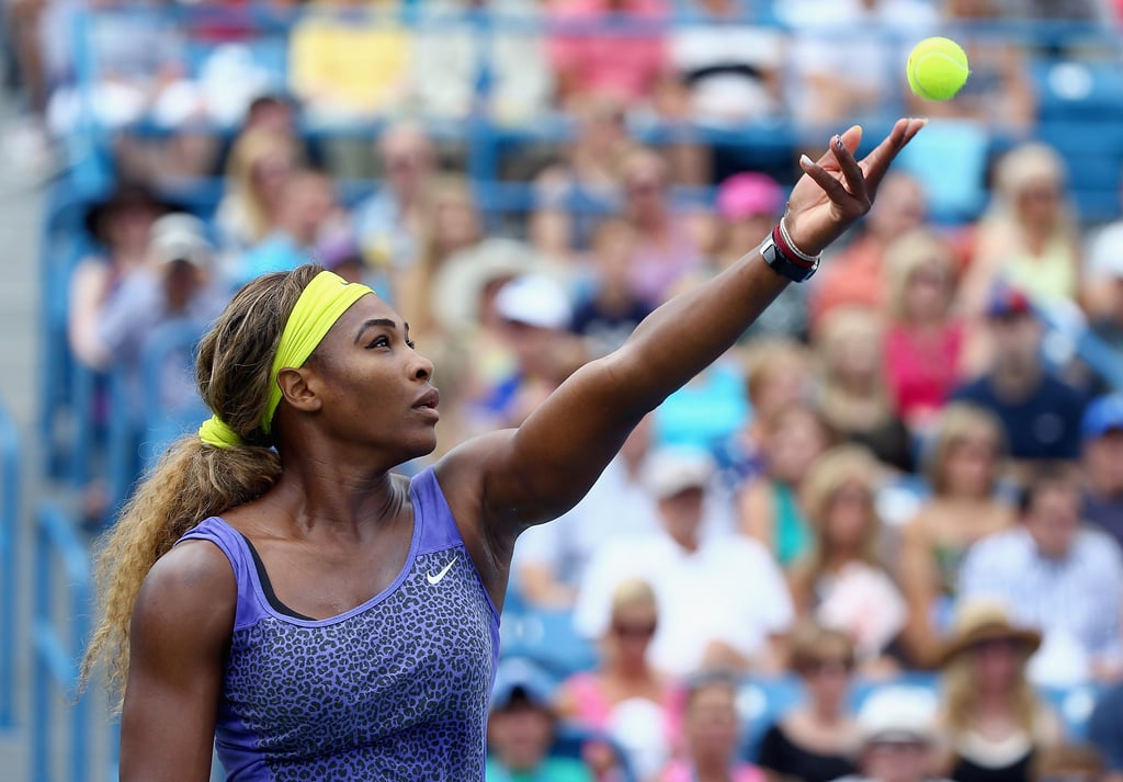 Serena Williams's Game Was Fierce in This Leopard-Print Top at the 2014 Western and Southern Open