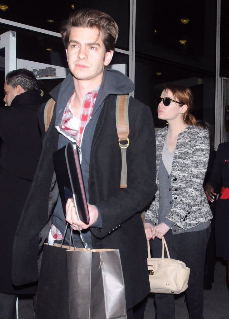 Emma Stone and Andrew Garfield were low-key at NYC's JFK airport.