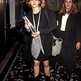 Julia mastered the art of layering with a vest and oversized blazer at an event in 1991.